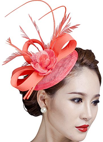 - Fascinators Hat, Fascigirl Sinamay Feather Flower Pillbox Hat Hair Clip with Veil Derby Hat for Women Evening Party Wedding