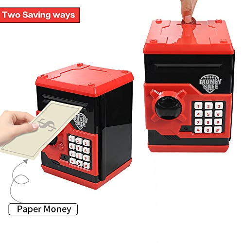 Cargooy Mini ATM Piggy Bank ATM Machine Best Gift for Kids,Electronic Code Piggy Bank Money Counter Safe Box Coin Bank for Boys Girls Password Lock Case (Red)