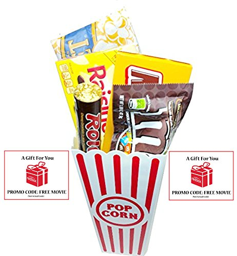 Movie Night Popcorn, Candy And Redbox Movie Gift Basket ~ Includes Movie Theater Butter Popcorn, Concession Stand Candy and a Gift Card for 2 Free Redbox Movie Rentals (Milk Duds)