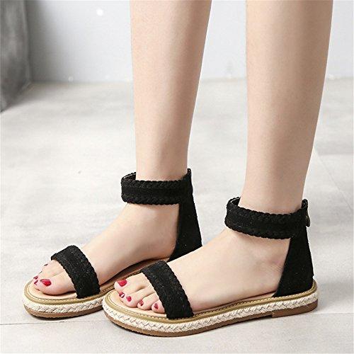 ad9f8585c2df9 Cuero Zapatillas Bajo Mujer Transpirables Tacón De Negro Verano Romanas  Zapatos Playa Para Sandalias vqwvP8Znr