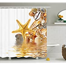 Seashells Decor Shower Curtain Set By Ambesonne, Shells And Starfish Reflection On Water Golden Color Wellness Spa Natural Clear Beach Theme, Bathroom Accessories, 84 Inches Extralong