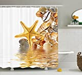 Ambesonne Seashells Shower Curtain, Shells and Starfish Reflection Water Golden Yellow Spa Clear Beach Theme, Fabric Bathroom Decor Set with Hooks, 75 inches Long, Earth Yellow Cream