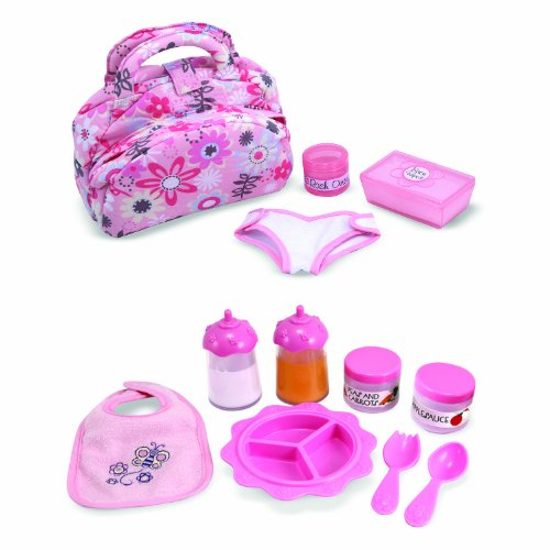 Melissa & Doug Doll Feeding and Changing Accessories - Bib, Bag, Diaper, Wipes, Utensils, Bottles (Baby Doll Diapers And Food compare prices)