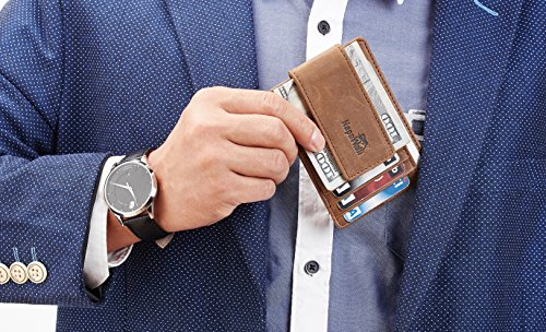 NapaWalli Genuine Leather Magnetic Front Pocket Money Clip Slim Minimalist Wallet (Crazy Horse Khaki) by NapaWalli (Image #1)