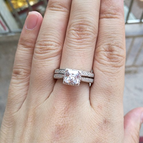 Newshe Princess White Cubic Zirconia Wedding Ring Set For Women 925 Sterling Silver Engagement Size (9) by Newshe Jewellery (Image #6)