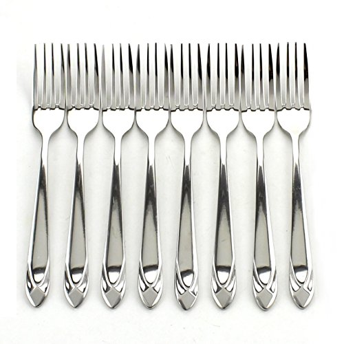 ZICOME 8 Piece Stainless Steel Dinner Forks - Heavy Duty and Mirror Polishing Flatware Forks Set - Diamond Theme