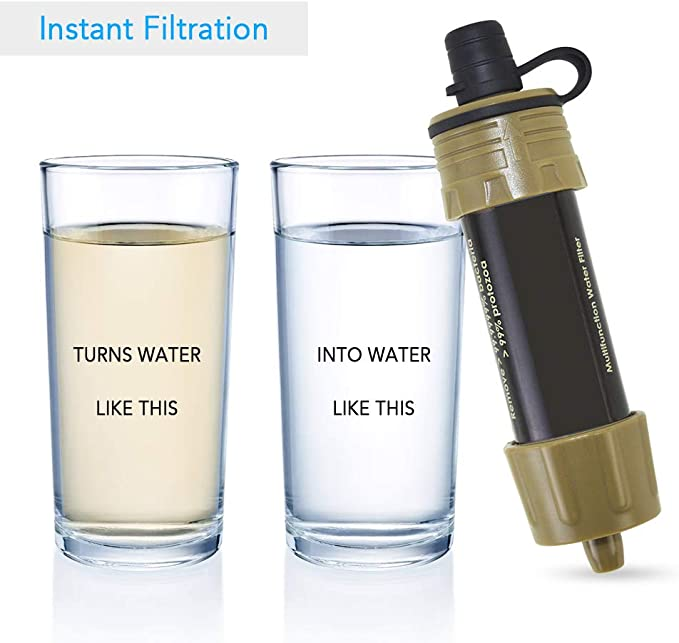 Festnight Water Filter Straw Outdoor Water Filter Straw Water Filter System Water Filter for Hiking Trekking Travel Adventure and Emergency Readiness
