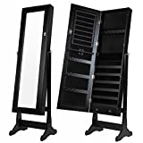 Homegear Mirrored Jewelry Cabinet with Stand Black