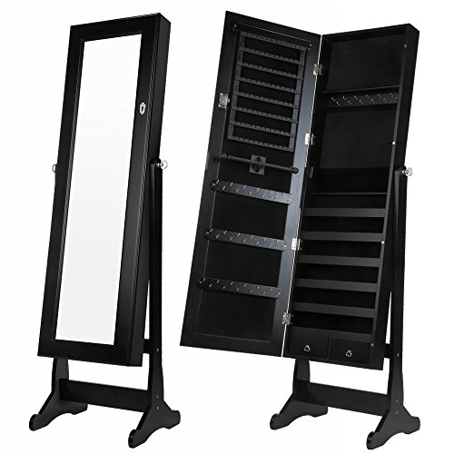 Mirrored Back Display Cabinet - Homegear Mirrored Jewelry Cabinet with Stand Black