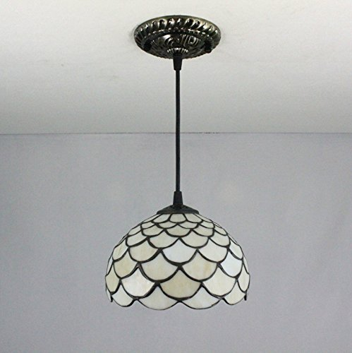 Tiffany Scale - Chandelier 8-Inch white fish scale pastoral style tiffany pendant light ceiling porch lamp