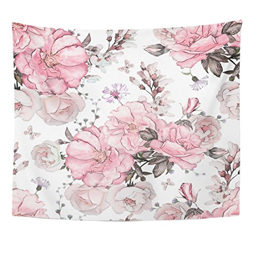 TOMPOP Tapestry Pink Flowers and Leaves on Watercolor Floral Pattern Rose Home Decor Wall Hanging for Living Room Bedroom Dorm 50x60 Inches