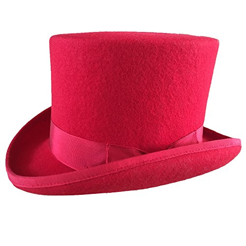 Red Wool Felt Low Top Hat For Women 5 1/4