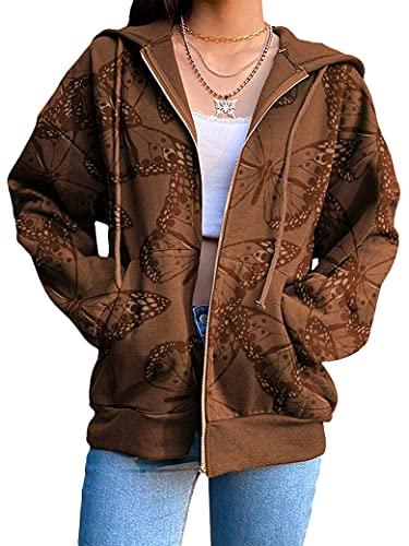 PLNCAYFZ Women Solid Color Zipper Long Sleeve Pocket Loose Hoodies Tops