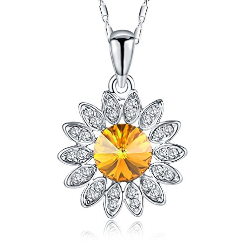 Silver Crystal Diamond Accent Sunflower Pendant Chain Necklace for Women, with a Gift Box, Made with SWAROVSKI Crystal, Yellow