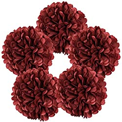 "Just Artifacts 5pcs 10"" Red Velvet Tissue Paper Pom Pom Flower Ball"