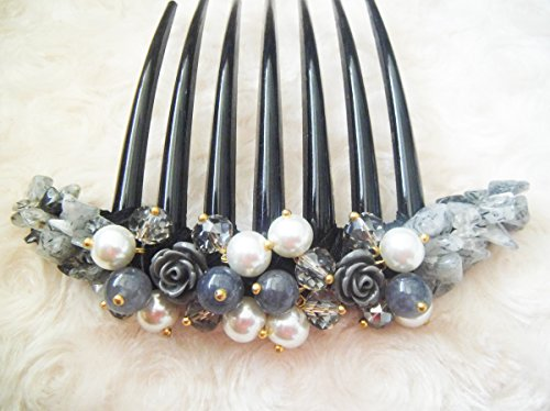 French twist hair comb Ornamented along the top of the heading with Pearl & Stone Gray Color