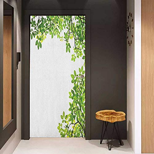 Automatic Door Sticker Leaves Broad Leaves Close up Background Garden Organic Foliage Shrubs Cells Plant Image Easy-to-Clean, Durable W17.1 x H78.7 Green White