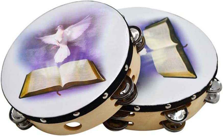 Per Newly 10 inch Tambourines Double Row Fiberskyn Frame Drum Hand Percussion for Adults and Kids