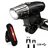Karrong Bike Light Set, LED Bicycle Light USB Rechargeable Waterproof 4 Modes, LED Front Headlights and Rear Taillight Mountain Bike Lights Cycling for Outdoor Camping Kids Night Cycle Safety