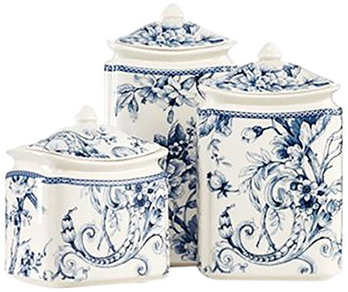 Porcelain Plate Toile (222 Fifth 7641055C Adelaide Canister Set, Blue)