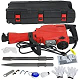 Smartxchoices 2200W Heavy Duty Electric Demolition Jack Hammer Kit Concrete Breaker Punch & Chisel Bits with Case And Gloves