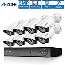 A-ZONE Security Camera System 8Channel 1920P AHD DVR With 8 HD 1920P 5.0MP Waterproof Night vision Indoor/Outdoor CCTV Camera, Quick Remote Access Setup Free App 8 Camera Security System
