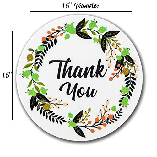 Ivy Paper Co Modern Floral Thank You Stickers | Roll of 1000 | 1.5'' Flower Envelope Sealers | Beautiful Circle Labels for Business, Gifts, Bridal, Thank You Cards Notes | Boho Gift Tags |Cute Stickers by Ivy Paper Co (Image #6)
