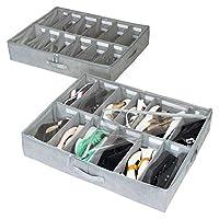 storageLAB Under Bed Shoe Storage Organizer, Adjustable Dividers - Set of 2, Fits 24 Pairs Total - Underbed Storage Solution (2-Pack Basic)