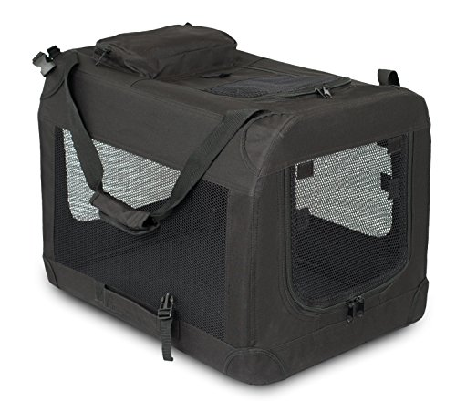 Cheap Internet's Best Soft Sided Dog Crate | Small (24 Inches) | Mesh Kennel | Indoor Outdoor Pet Home | Travel Easy | Folding and Collapsible Cage | Black