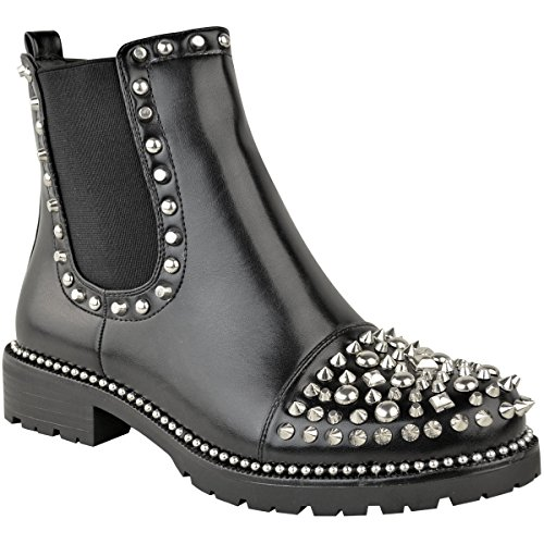 Fashion Thirsty Womens Low Spike Studded Chunky Ankle Boots Biker Goth Punk Grunge Size ()
