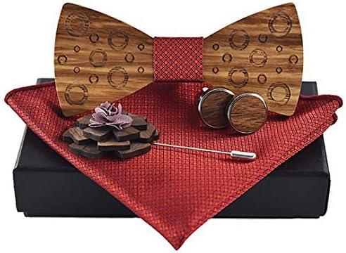 Ukerdoメンズ手作りタキシード木製蝶ネクタイカフスブローチポケットチーフセット為に結婚式
