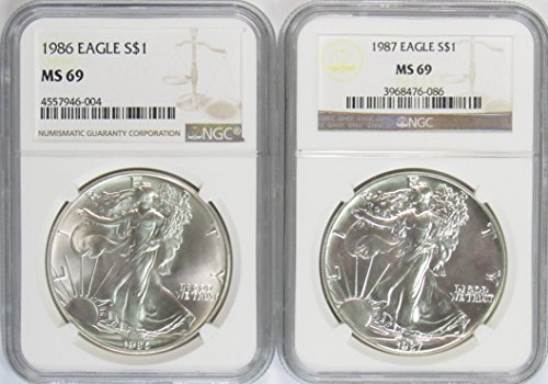 1986-1987 American Silver Eagle NGC MS-69
