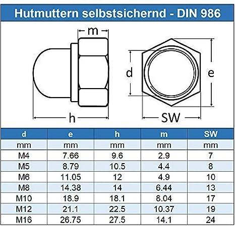 - DIN 986 rostfrei M10 Sechskant-Hutmuttern selbstsichernd Eisenwaren2000 50 St/ück Edelstahl A2 V2A