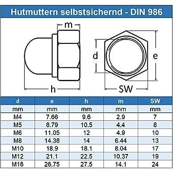 Eisenwaren2000 Edelstahl A2 V2A M8 Sechskant-Hutmuttern selbstsichernd - DIN 986 20 St/ück rostfrei