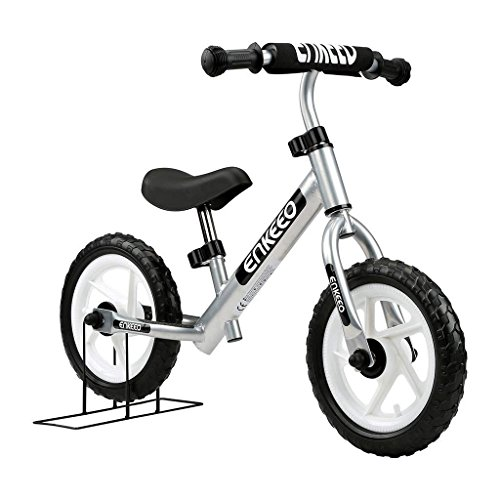 ENKEEO 12 Sport Balance Bike No Pedal Walking Bicycle with Carbon Steel Frame, Adjustable Handlebar and Seat, 110lbs Capacity for Ages 2 to 6 Years Old, Silver (Aluminum Frame Contour)