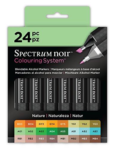 (Spectrum Noir SPECN-SN24-NAT Markers-24 Pc Colouring System Alcohol Marker Dual Nib Pens Box Set-Nature-Pack of 24)