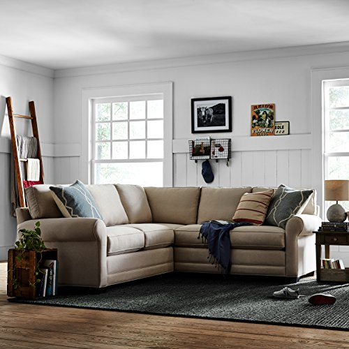 "Stone & Beam Kristin Performance Fabric Sectional Sofa Couch, 93""W, Sand"