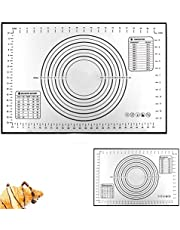 Large Silicone Pastry Baking Mat (40x60cm), Reayou Non-Stick Reusable Rolling Pastry Mat Cookie Dough Mat with Measuring Guide for Kitchen (Black)
