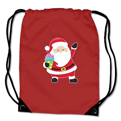plot4u Turnbeutel Weihnachtsmann Sportbeutel für Schule Sport Sporttasche Bag Base® BG10 Gymsac 45x34cm lime grün/farbiger Aufdruck Saphir Blau/Farbiger Aufdruck