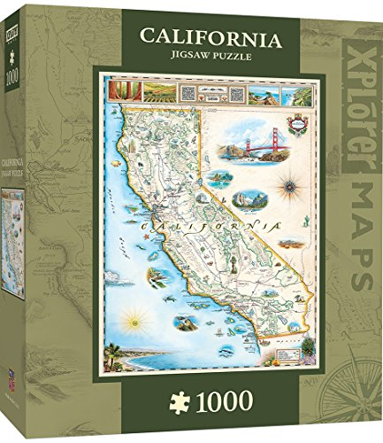 California Shaped Puzzle - MasterPieces Xplorer Maps Jigsaw Puzzle, California, 100% Made in USA, 1000 Pieces