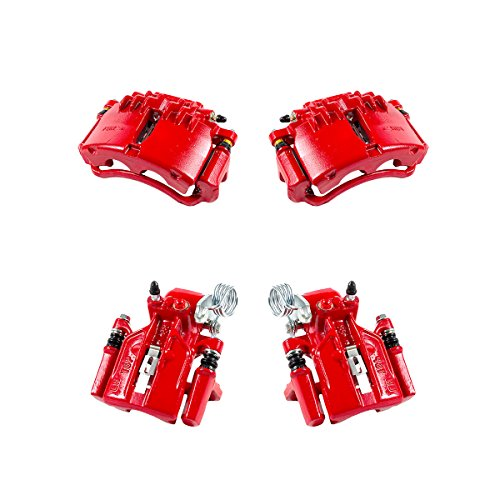 CK01088 FRONT + REAR [ 4 ] Performance Grade Semi-Loaded Powder Coated Red Caliper Assembly Set Kit [ SN95 ]