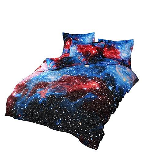YOUSA Shining Stars Bedding Set Mysterious Galaxy Duvet Cover Set Twin (02) (Star Set Twin)