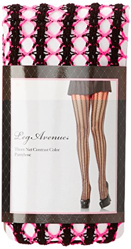 Leg Avenue Women's Thorn Net Pantyhose, Neon Pink/Black, One Size -