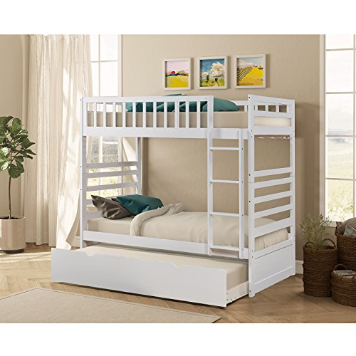 Bunk Bed - Merax Bunk Bed Twin Over Twin with Trundle Bed and End Ladder in White