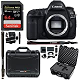 Canon EOS 5D Mark IV Full Frame Digital SLR Camera Body, Nanuk 915 Hard Case with Cubed Foam, Lexar 64GB, Polaroid Monopod, Ritz Gear Cleaning Kit, Memory Card Wallet, Reader and Accessory Bundle