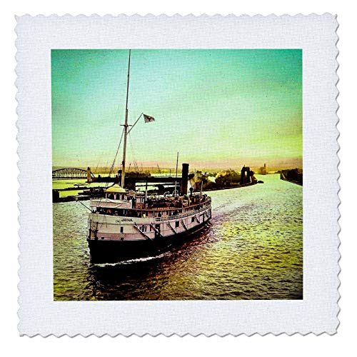3dRose Scenes from The Past - Magic Lantern - Hand Tinted SS Japan in The Soo Locks Sault Ste. Marie Michigan - 25x25 inch Quilt Square (qs_301308_10)