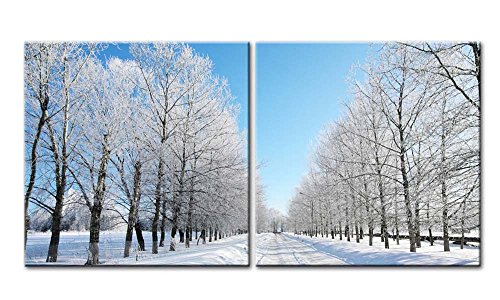 Paintings Of Russia (Canvas Print Wall Art Painting For Home Decor Landscape Of Russia Poplar Forest Path In Winter With White Snow Bright Sunny Frosted Wooden In Blue Sky 2 Pieces Panel Paintings Modern Giclee Stretched And Framed Artwork The Picture For Living Room Decoration Landscape Pictures Photo Prints On Canvas)