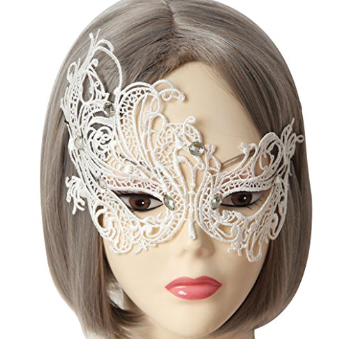 [Women's Dance Party Phoenix Half-face White Lace Masks] (Couple Costumes Black And White)