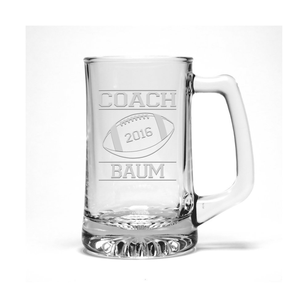 Personalized Football Coach Etched Beer Mug - Sports Beer Glass