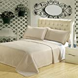 King Size Luxury Beige Checkered Quilted Wrinkle Free Microfiber 3 Piece Coverlets Set